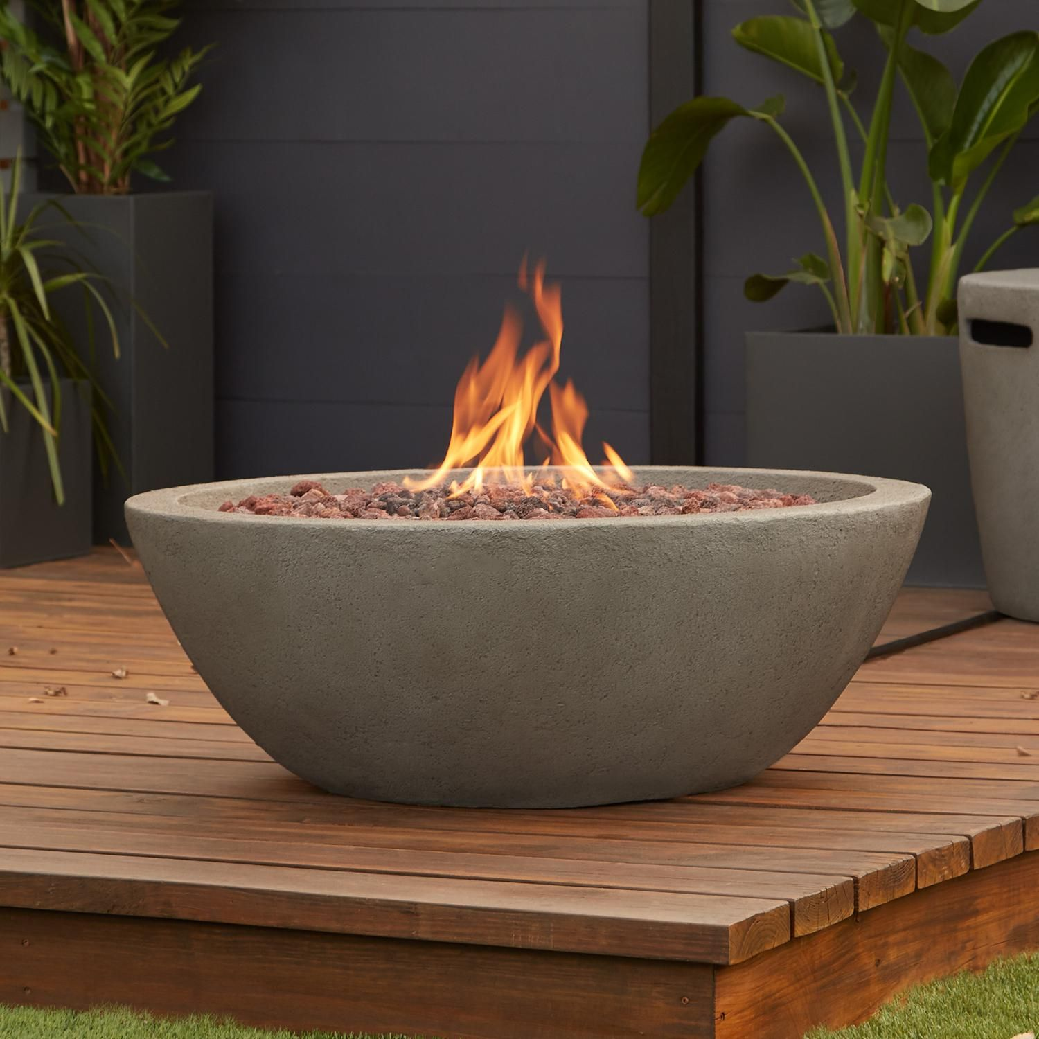 Real Flame Riverside 36 Inch Round Propane Fire Bowl Glacier Gray C539lp Glg Bbqguys Fire Bowls Gas Firepit Propane Fire Bowl