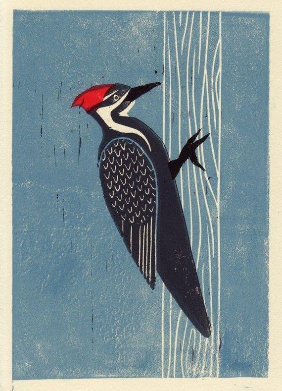 PILEATED WOODPECKER - Original hand drawn linocut art print 5x7, blue, red, trees, forest, nature#5x7 #art #blue #drawn #forest #hand #linocut #nature #original #pileated #print #red #trees #woodpecker
