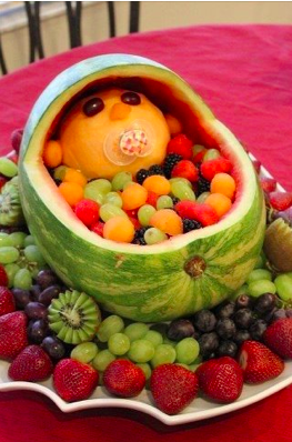 Baby fruit salad - great baby shower idea! I'm making this for my sister's baby shower! So cute!
