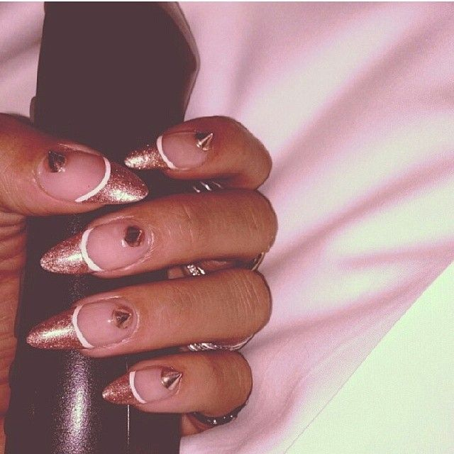 Rihanna\'s rose gold stiletto nails by Kimmie Kyees   Nail Art ...