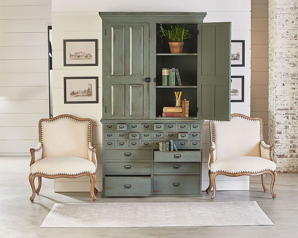Magnolia Home   File Cabinet Armoire With Reverie Accent Chairs