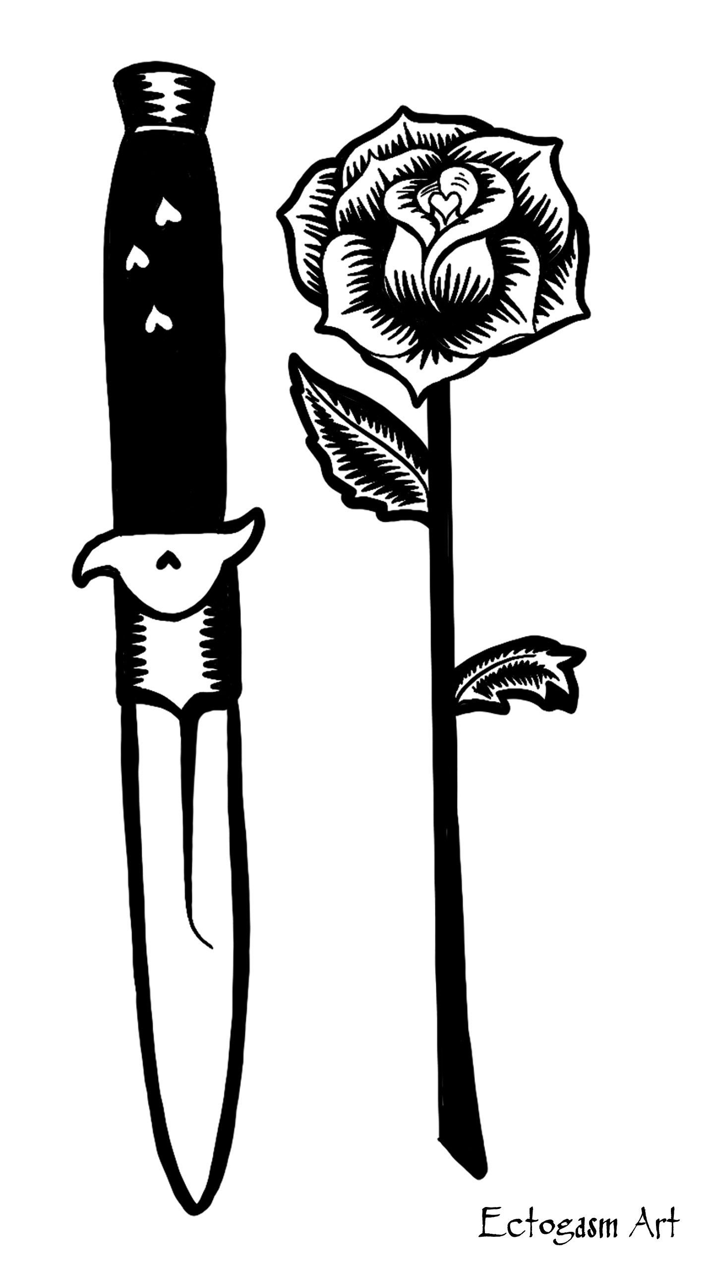 f81c0a0f925 White Knife and Rose Tattoo Phone Wallpaper - Free Digital Download ...