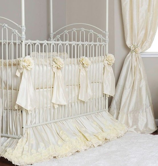 Creme Silk Rose Crib Bedding Baby Bed Crib Bedding Girl Victorian Baby Bedding