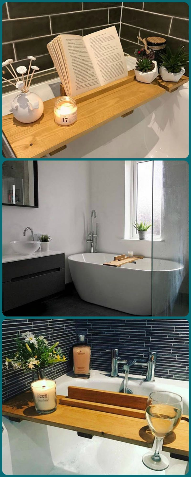 My kind of mother\'s day gift :)) bath tray, bath caddy, bath shelf ...