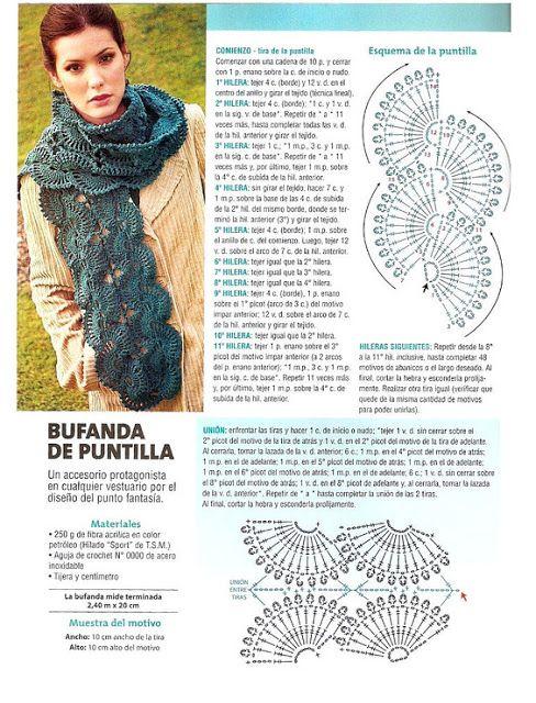 Crochet scarf | tejidos a crochet | Pinterest | Croché, Ganchillo y ...