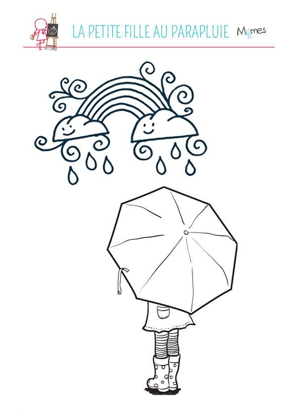 Coloriage La Petite Fille Au Parapluie Coloriage Dessin