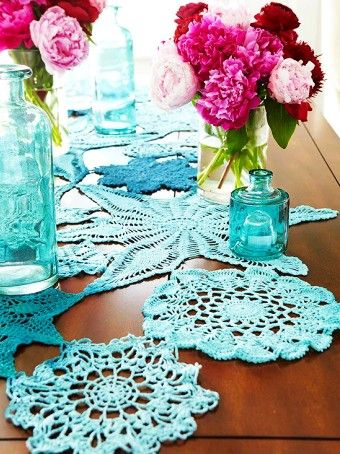 Rustic Felted Crochet Table Runner Pattern for 2015 Christmas - Christmas Crafts, Pastel Bottles, Table Centerpiece