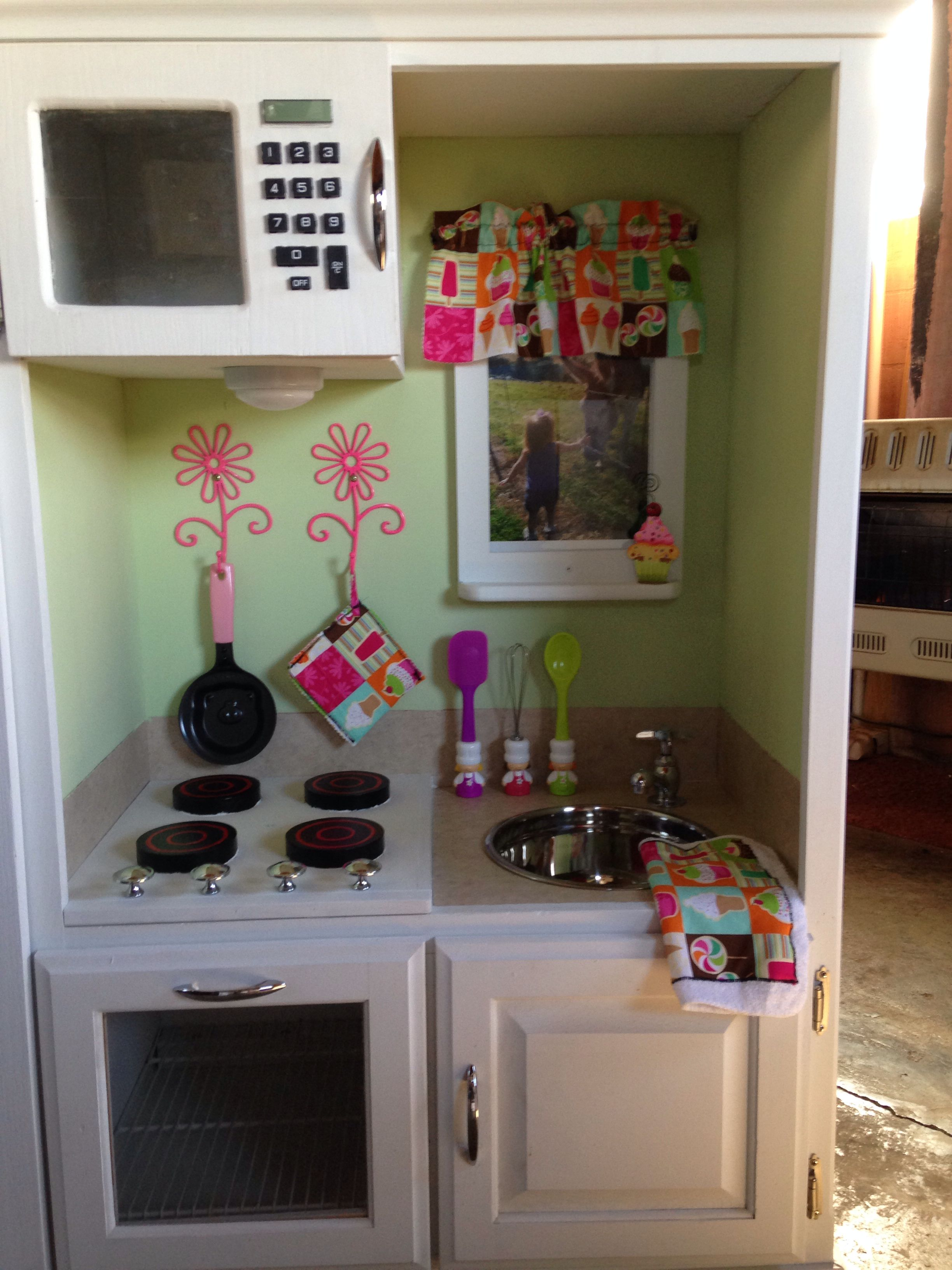 Child\'s kitchen set made from an entertainment center! | Child\'s ...