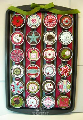 i STAMP by Nancy Riley: COOKIE SHEET ADVENT CALENDAR Like this idea but would change to use a piece of galvanized sheet metal from Home Depot and the magnetic spice tins from IKEA. Decorate each tin and arrange like calendar.