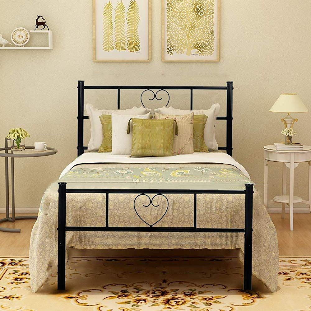 Greenforest Single Bed Frame Solid 3ft Metal Beds With Heart Shaped Large Storage Space For Children Bed Frame Sizes Twin Size Metal Bed Frame Single Bed Frame