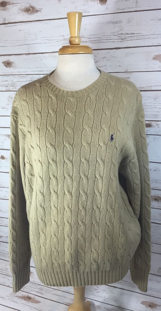 Polo Ralph Lauren Mens Beige Cable Knit Crewneck Sweater Large 100% Lambswool #PoloRalphLauren #Crewneck