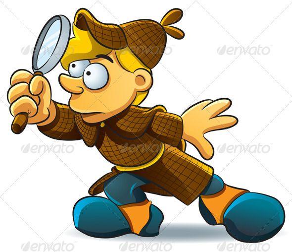 Detective Investigate Cartoon Boy Detective Cartoon