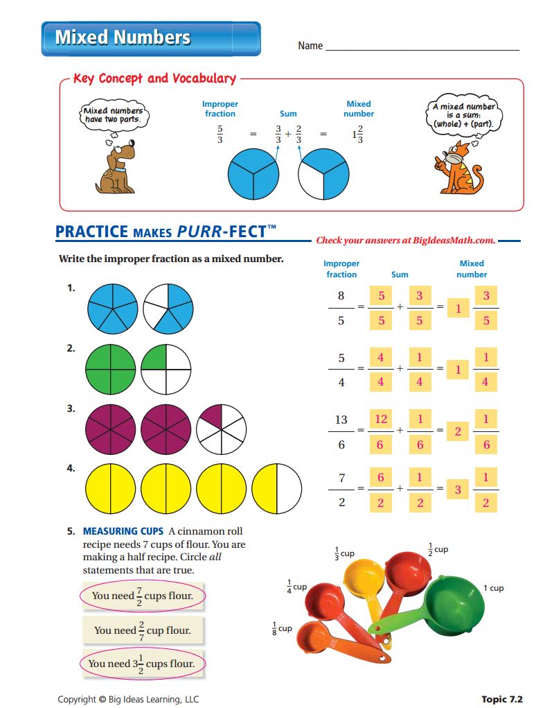 Mixed Number Worksheet Answers Fractions Worksheets Fractions Fractions Worksheets Grade 4