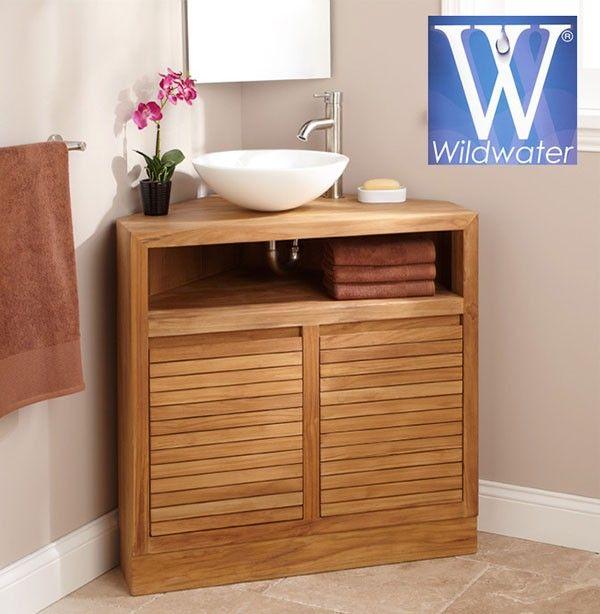 Meuble D Angle Sous Vasque En Teck 85 Cm Cube Corner Bathroom Vanity Corner Vanity Corner Vanity Unit