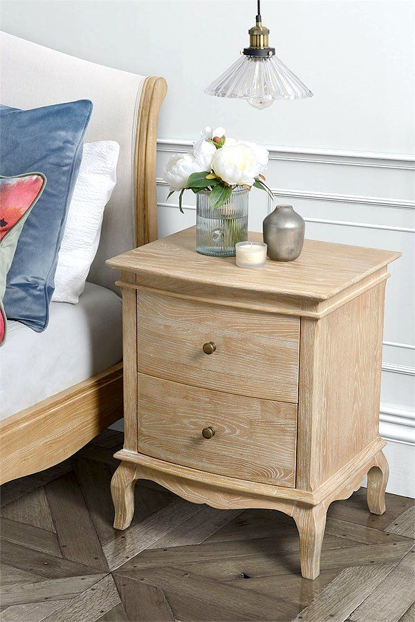 Miraval French Vintage Style 2 Drawer Bedside Table My Furniture