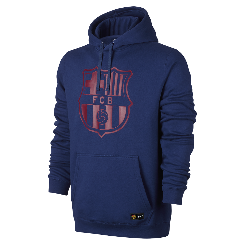 Nike FC Barcelona Crest Men s Pullover Soccer Hoodie Size  ce11e8f208b54