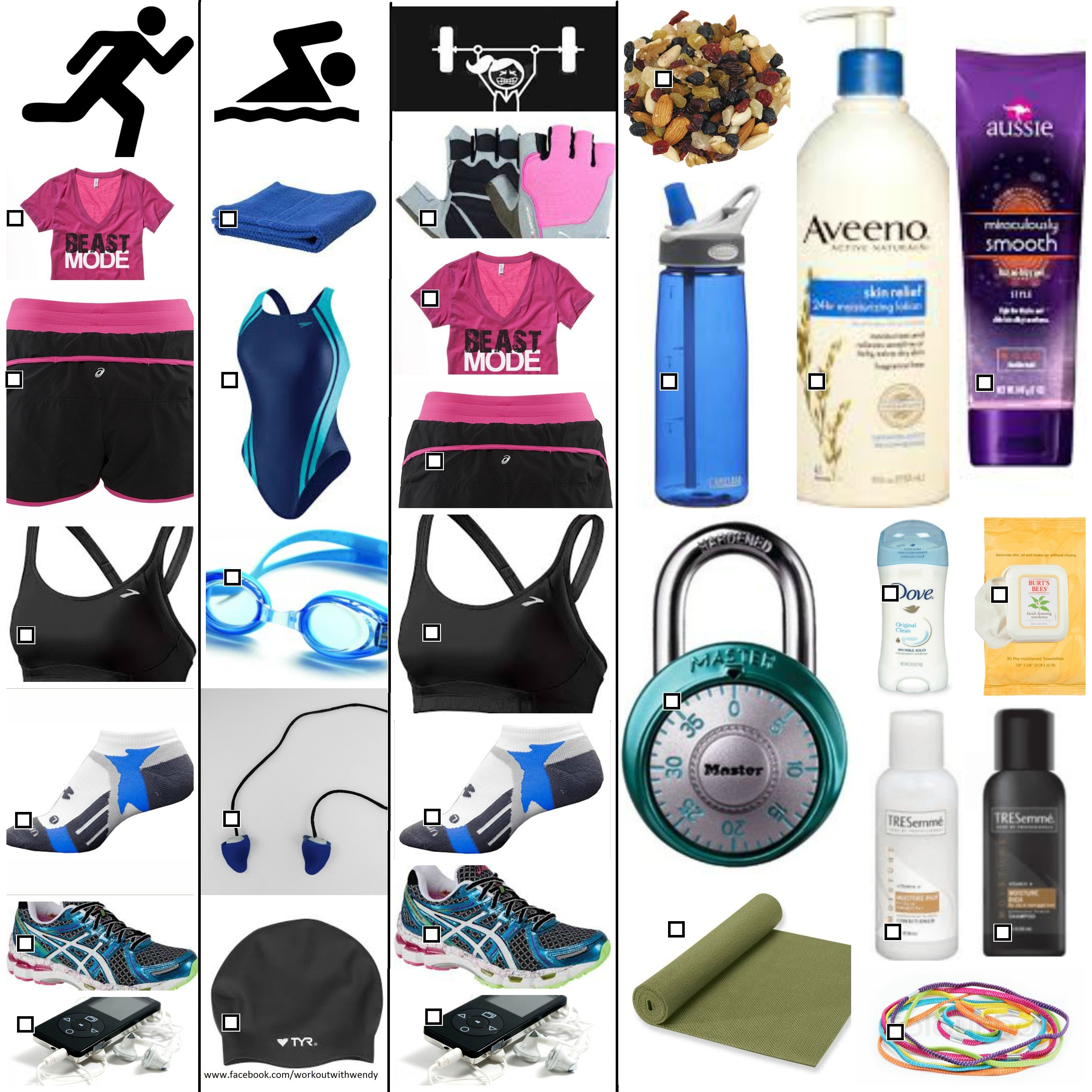 Gym bag essentials check list work out items for running