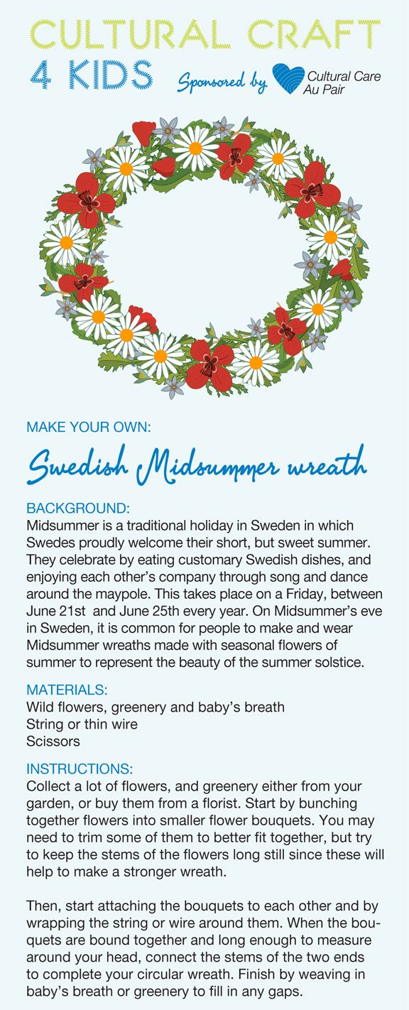here 39 s an idea for swedish midsummer that au pairs can help kids make download this easy kids. Black Bedroom Furniture Sets. Home Design Ideas