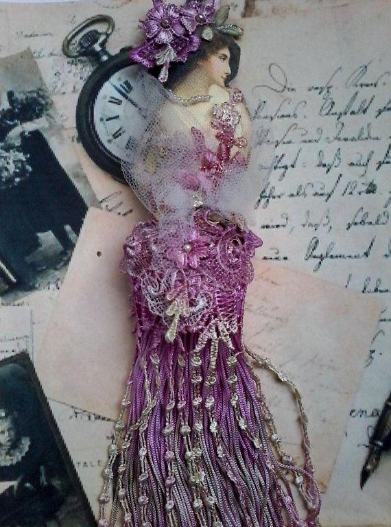 Large shabby tassel doll, victorian hanging doll, embellished tassel, hand created tassel doll, gift for her, shabby tassel, lady tassel #dollvictoriandressstyles
