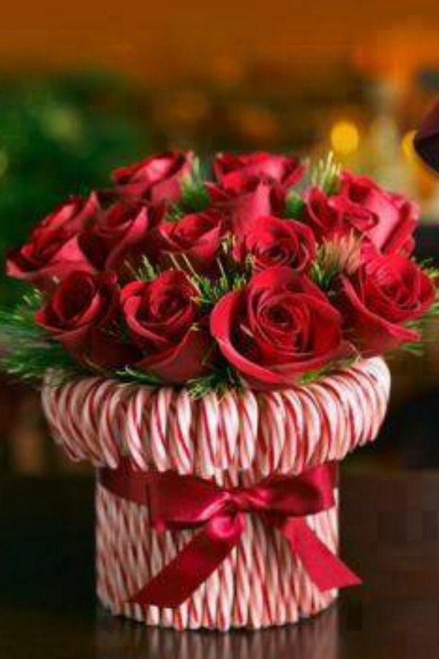 Candy Cane Vase Christmas Wedding IdeasRed Christmas Wedding