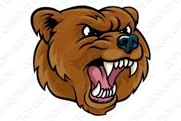 Grizzly Bear Cartoon Mascot Angry Face. Tattoo Ideas in ...