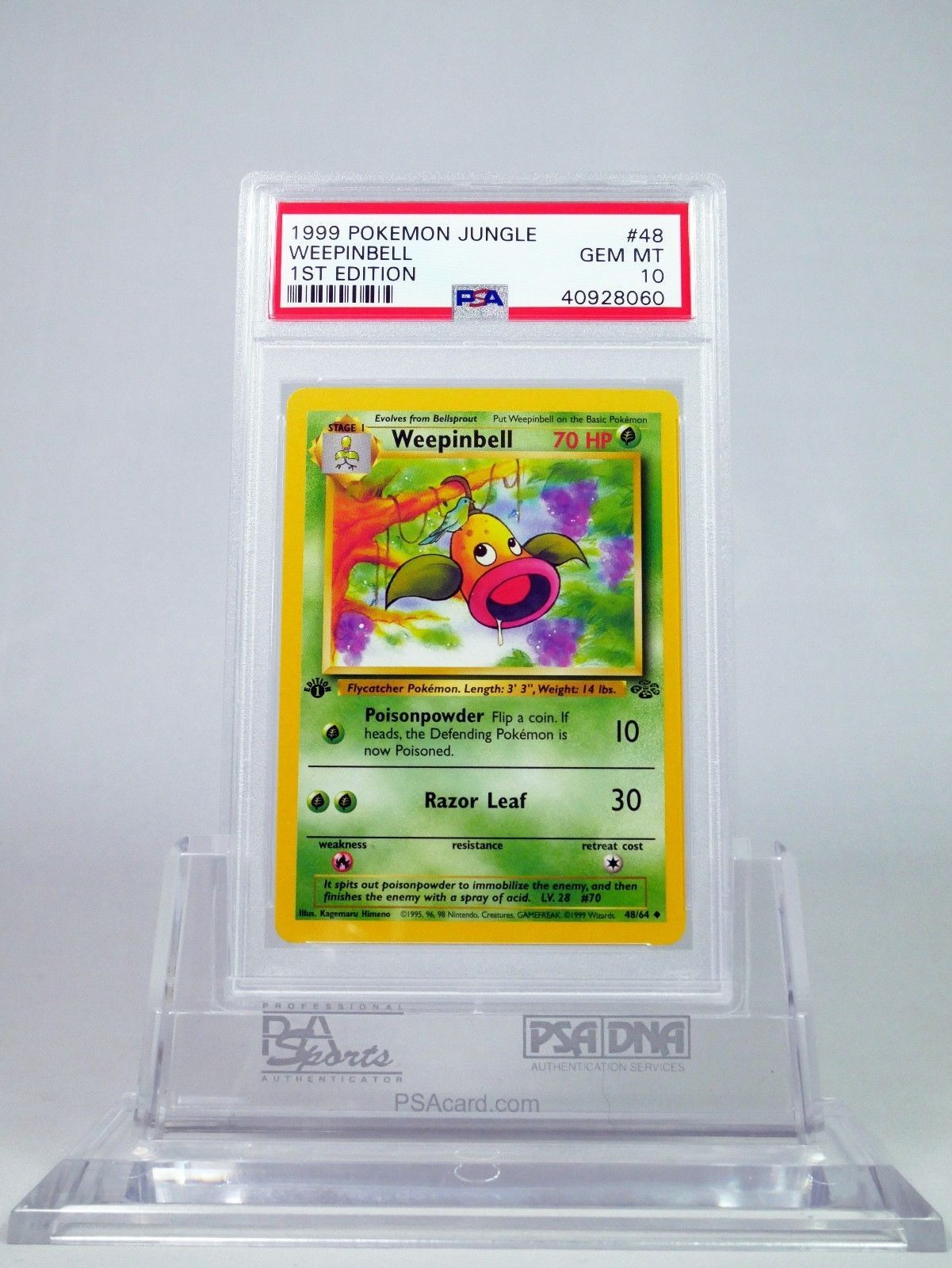 PSA 10 GEM MINT 1st Edition Weepinbell Pokemon Jungle Set