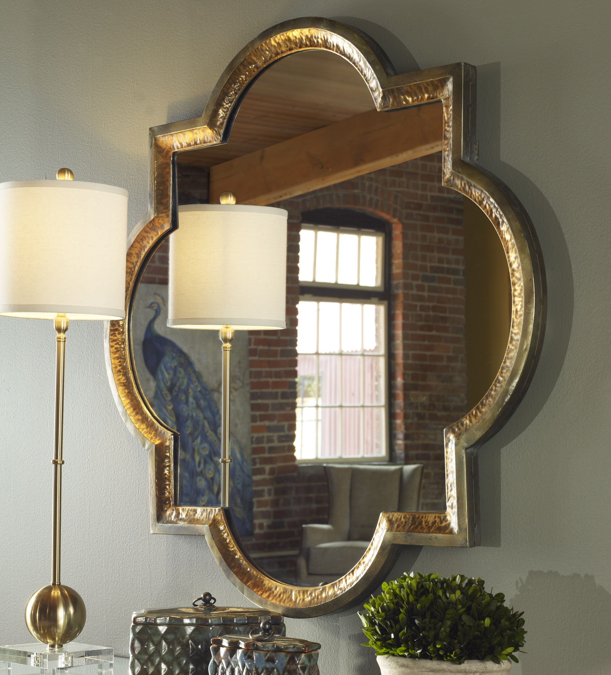 Lourosa Gold Mirror By Uttermost  40 X 40