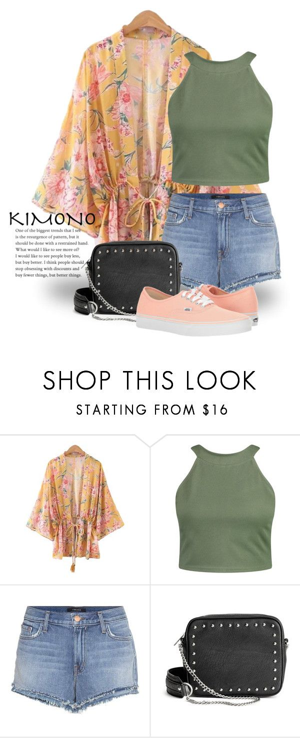 """Floral Kimono 3445"" by boxthoughts ❤ liked on Polyvore featuring Boohoo, J Brand, H&M and Vans"