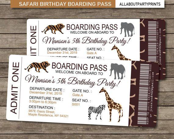Safari birthday boarding pass invitation invitation printable jpeg safari birthday boarding pass invitation invitation printable jpeg format printables stopboris Images