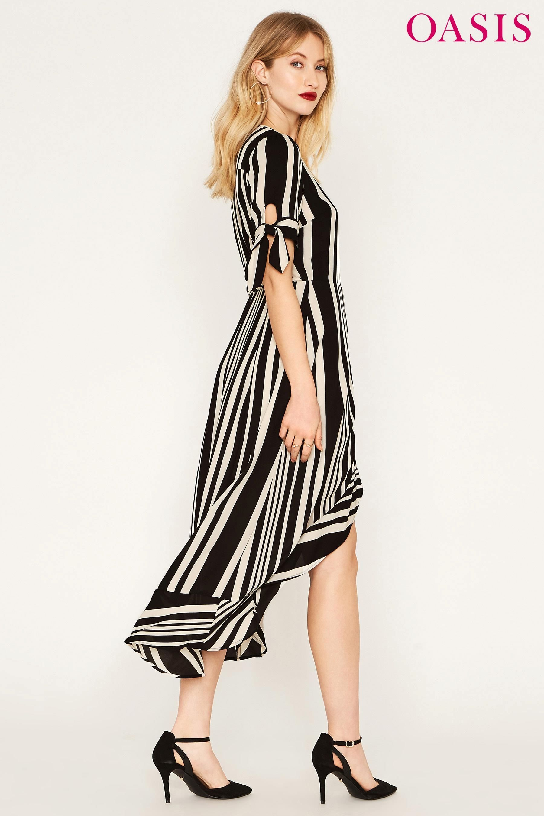 8178ed5802f7 Buy Oasis Black Stripe Wrap Midi Dress מנקסט ישראל | dresses in 2019 ...