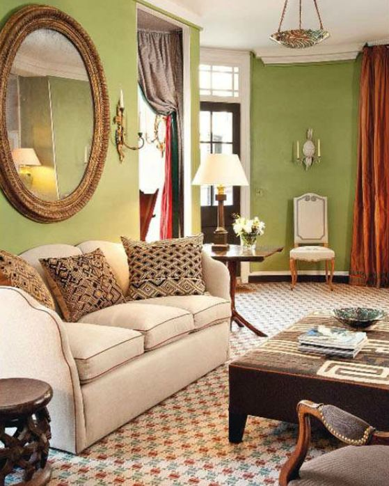 15 Lively Orange Living Room Design Ideas: Traditional Style Living Room In A Lively Spring Green