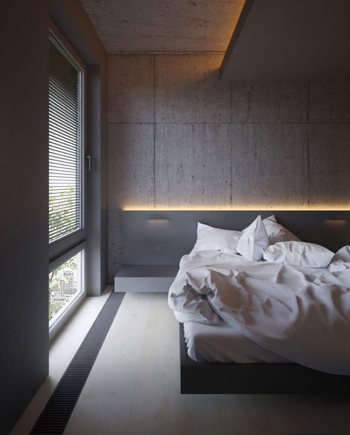 Attractive In The Bedroom, Granite Walls Behind Illuminated Headboards Add Interest  Without Clutter. Another Low Lying Bed Design, Soft White Bedding And An  Opaque ...