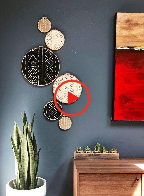 Afrikaanse Mudcloth Gallery Muur Opknoping Decoratie Set