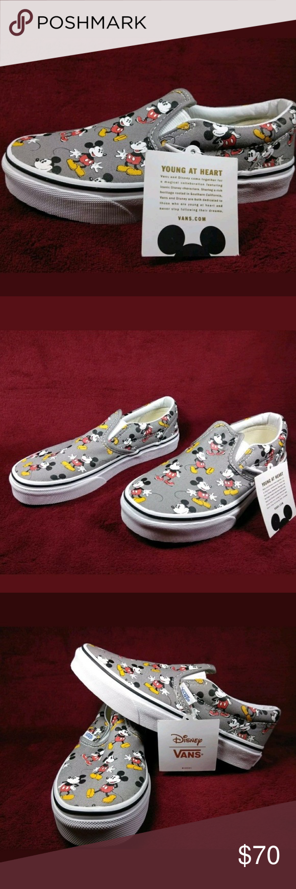 8602101c6159 Mickey Mouse Vans Size 1.5 Kids Slip On No laces Brand new Vans size 1.5 for