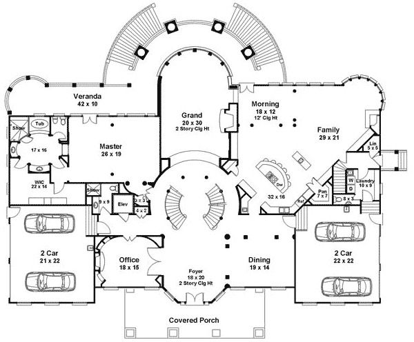 Plan 12225Jl Majestic Double Staircase Luxury House Plans | Double Staircase House Plans | Bedroom | First Floor | Residential | Blueprint | Modern