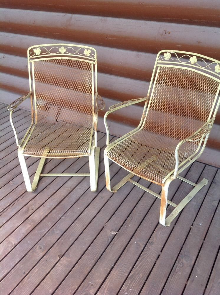 Salterini Patio Furniture Parts: 2 Vintage Salterini?? Floral Bouncing Rocking Wrought Iron