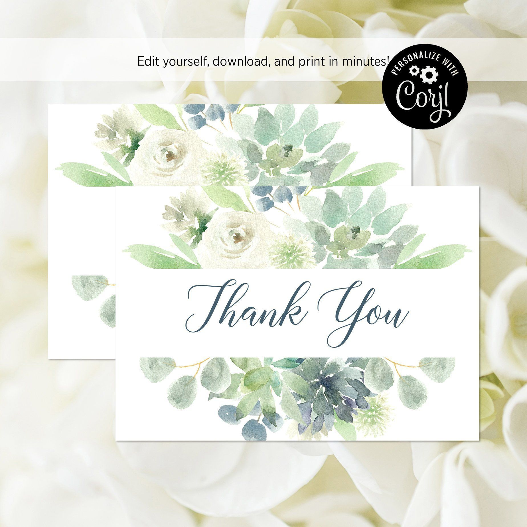 EDITABLE FILE Succulent Thank You Card Blue and Mint