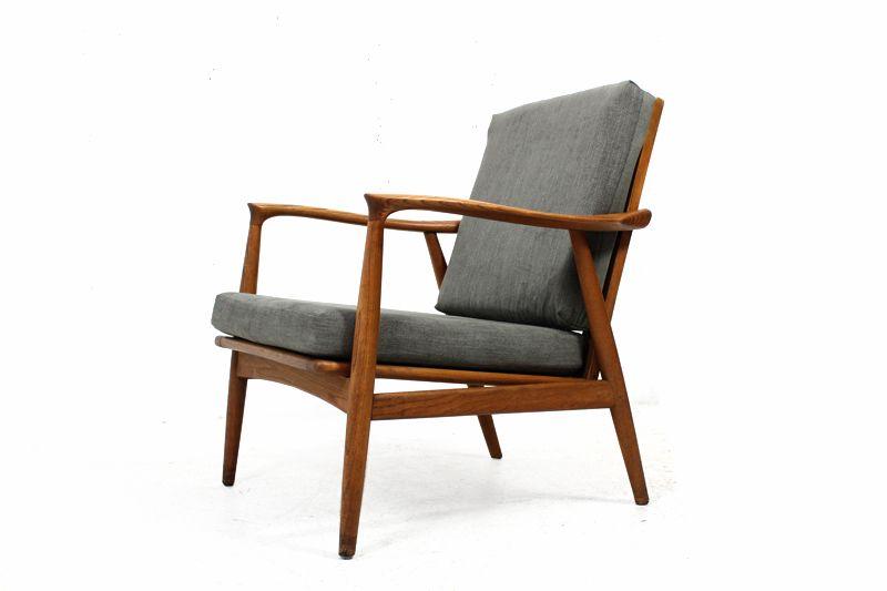 60er teak sessel l easy chair l neu bezogen l for Sessel 60er design