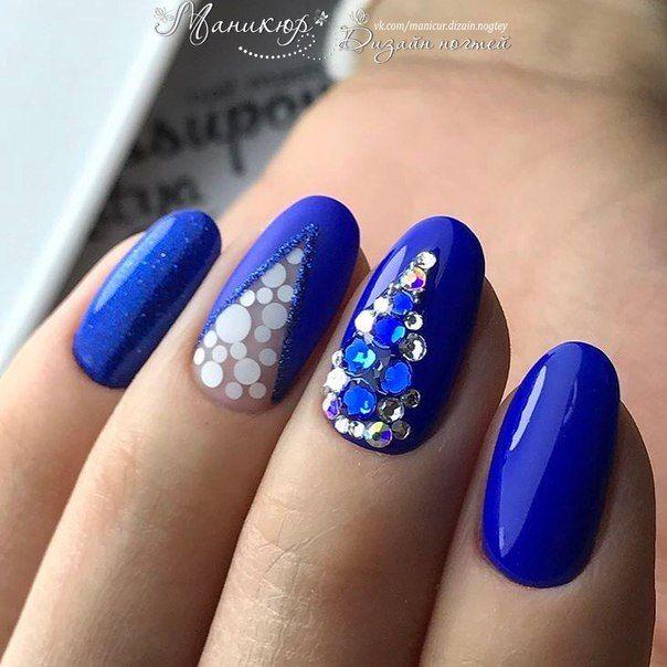 Маникюр | Дизайн ногтей | Синие ногти, Маникюр ...