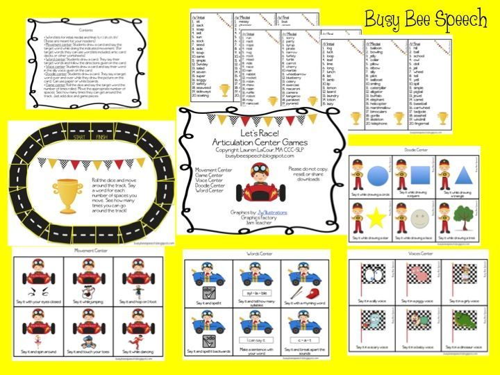 Busy Bee Speech: Let's Race Articulation Centers. Pinned by SOS Inc. Resources. Follow all our boards at pinterest.com/sostherapy for therapy resources.