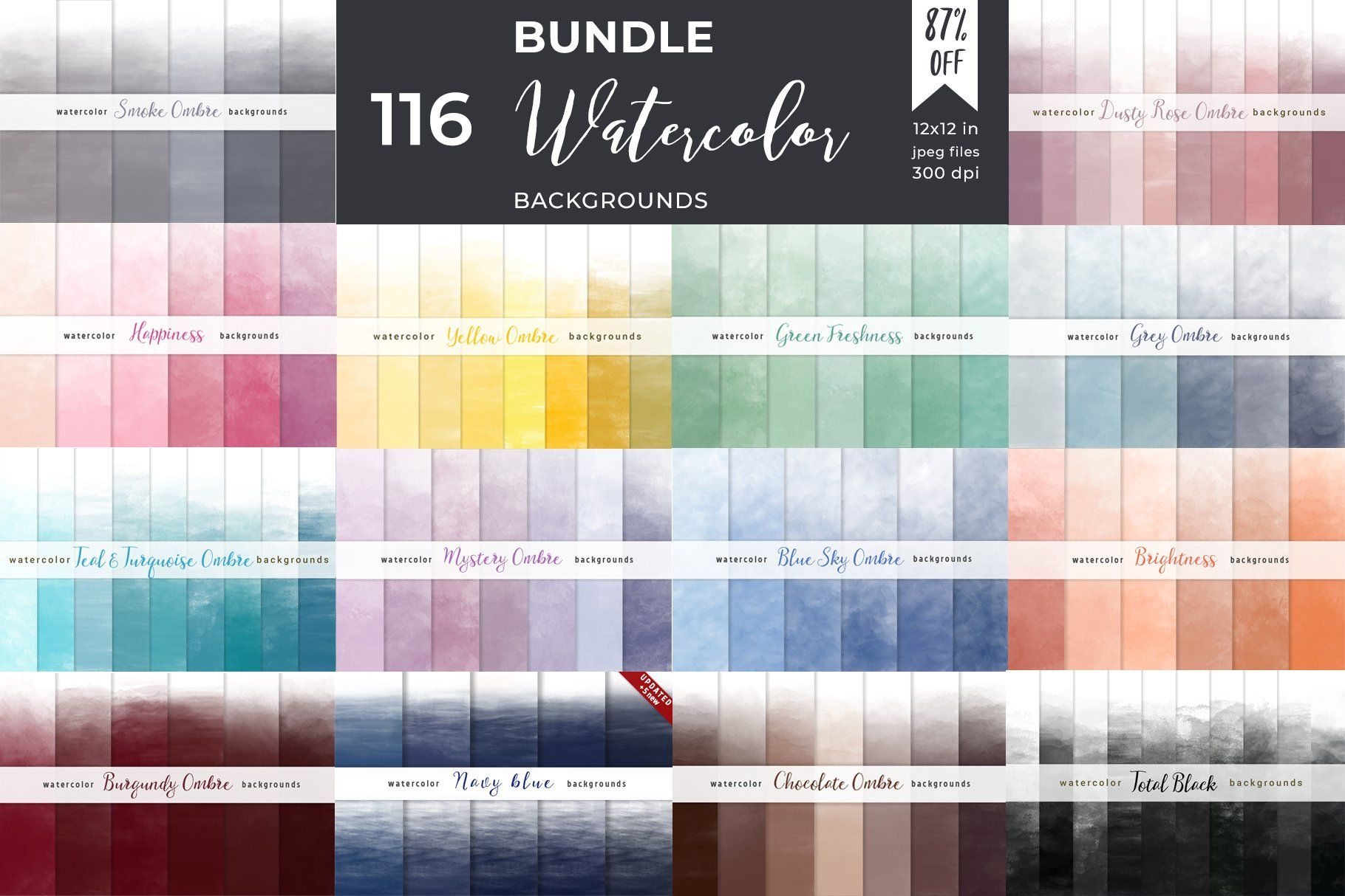 Ombre Watercolor Backgrounds Bundle (With images