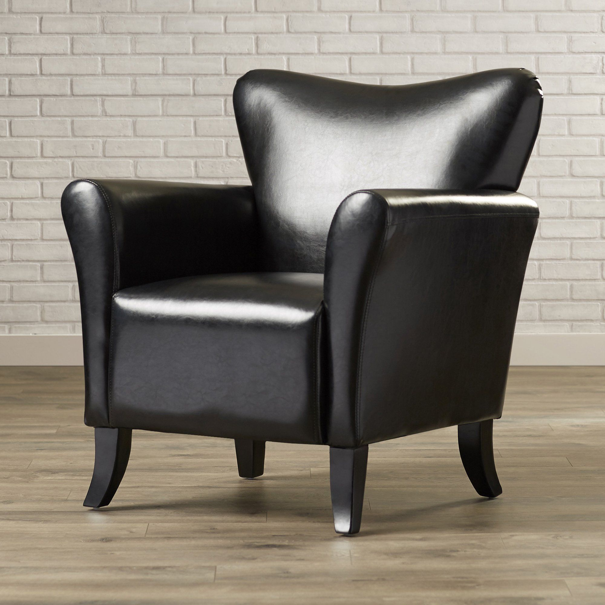 Contemporary Arm Chair For Living Room Black Faux Leather Upholstered Armchair Accent Comfortable Club