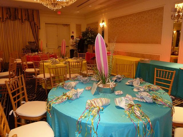 Surfing Centerpieces With Sand And Sea Shells For A