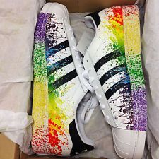 adidas originals d70351 men 39 s superstar lgbt pride pack 2015 rainbow splatter sneakers. Black Bedroom Furniture Sets. Home Design Ideas