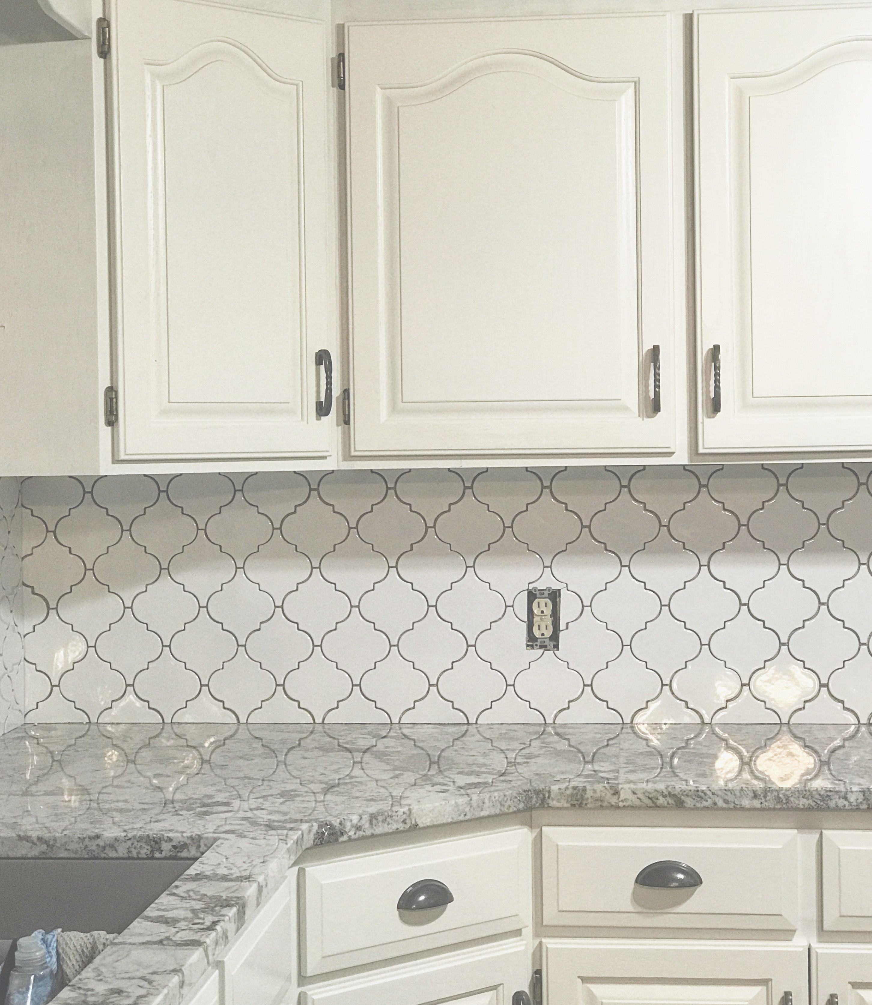 White Kitchen Cabinets White Arabesque Tile Backsplash Gray