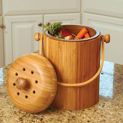 Odor Free Compost Keeper Bamboo Pail With Filter