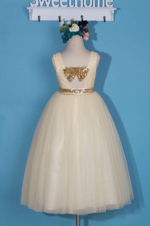 Flower girl dress/ivory lace tulle flower girl dress/ivory pageant ...