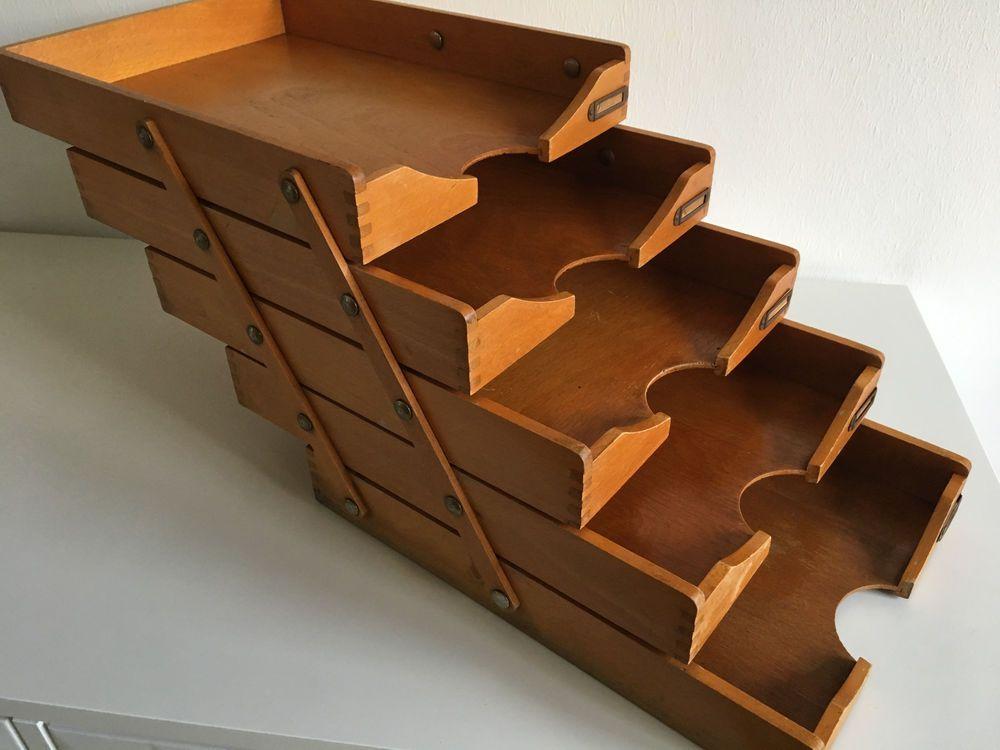 Organizer Schreibtisch Papier A4 Holz Holzbox 1 Fach Antik Massivholz Vintage