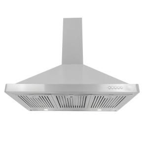 Cosmo 36 In Ducted Wall Mount Range Hood In Stainless Steel With Led Lighting And Permanent Filters Cos 63190 The Home Depot Wall Mount Range Hood Range Hood Stainless Steel Range Hood