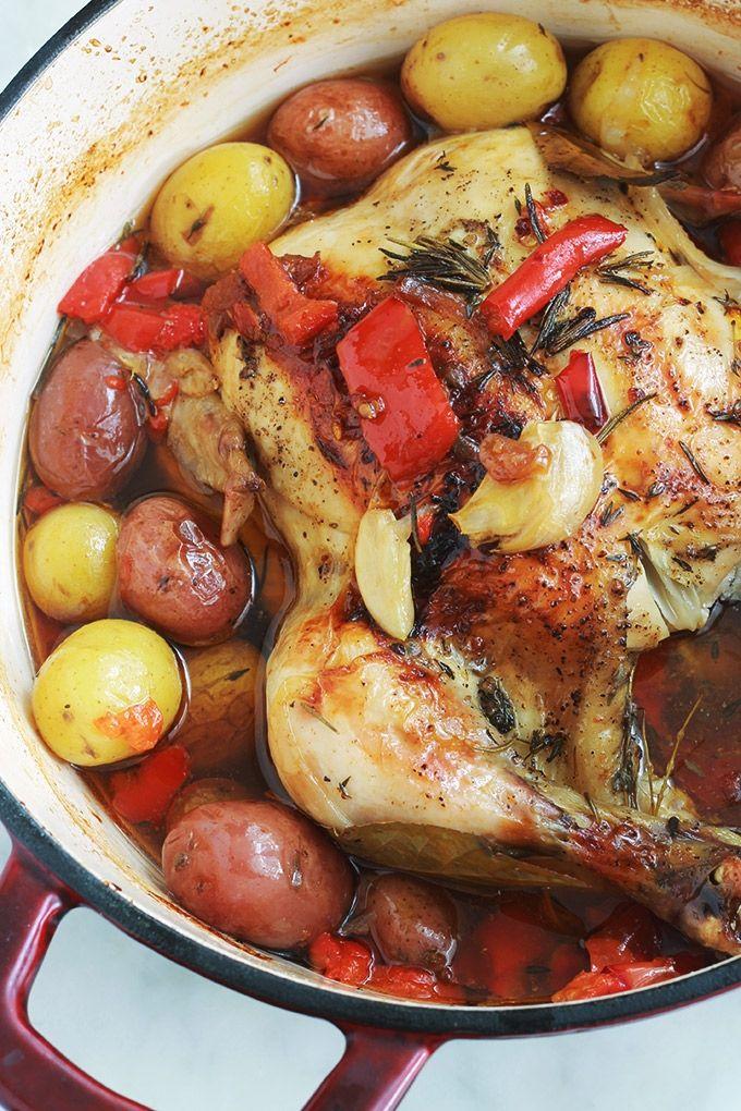 Poulet Roti Au Four Pomme De Terre Poulet Roti En Cocotte Au Four Pommes De Terre Poivrons Tomates Recette Poulet Roti En Cocotte Poulet En Cocotte Et Poulet Roti